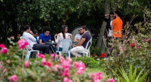 Students in the gardens of UTC University of Tunis Carthage in Tunisia