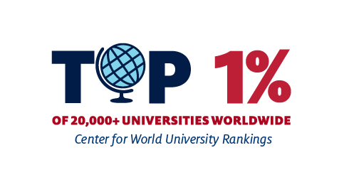 Logo ranking University of Arizona at the top 1% in the world
