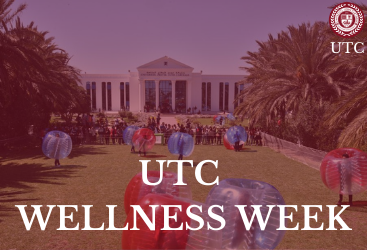 UTC Wellness Week with UTC campus on background