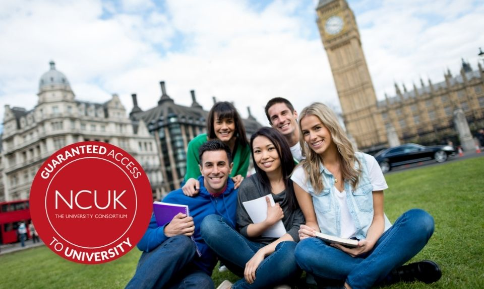 International Students in London with the NCUK Guaranteed Admission Logo